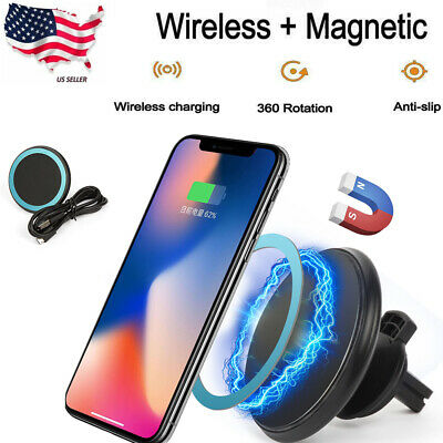 Car Wireless Charger Air Vent Mount 360° Rotation Car Phone Holder For Samsung