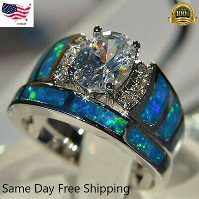 2pcsset 925 Silver Rings for Women White Sapphire Jewelry Wedding Ring Sz 6-10