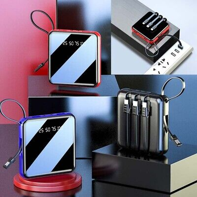 900000mAh UltraThin 4 Cable Portable Power Bank External Battery Backup Charger