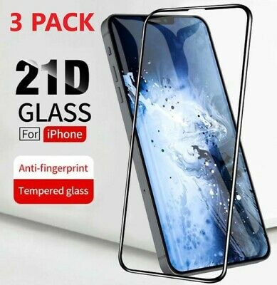 3-PACK Full Coverage Tempered Glass Screen Protector For iPhone X 11 12 Pro Mini