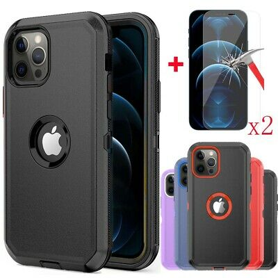 For iPhone 111212 Pro Max Hybrid Shockproof Defender Case Cover-Tempered Glass