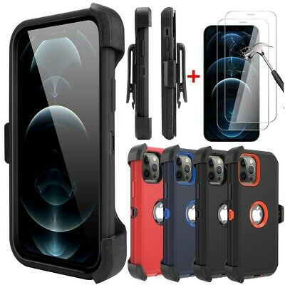 For iPhone 12 Pro Max12 Pro12 Case Cover-Belt Clip Holster-Tempered Protector