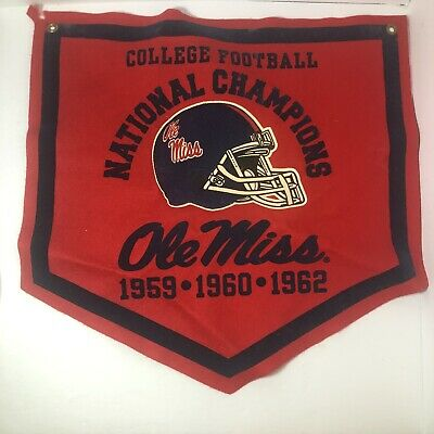 Vintage Ole Miss Rebels College Football National Champions Banner '59 '60 '62