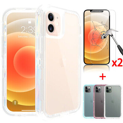 For iPhone 12 Pro 11 Pro Max Shockproof Defender Case-Tempered Glass Protector