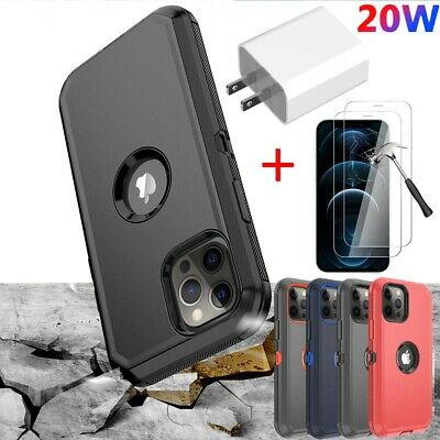 For iPhone 1112 Pro Max Shockproof Case-Tempered Glass-20W Fast Charger Adapter