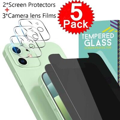 5 Pack For iPhone 1112 Pro Anti-Spy Privacy Glass Screen Camera Lens Protector
