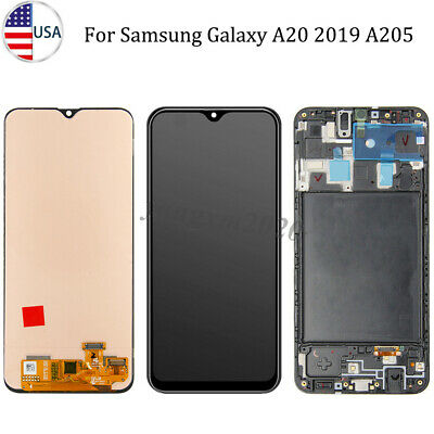 For Samsung Galaxy A20 A205U LCD Display Touch Screen Digitizer Assembly Frame