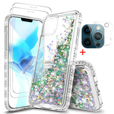 For iPhone 12 Pro Max11 Pro Max Clear Bling Case-Tempered Glass-Lens Protector