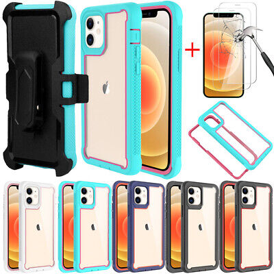 For iPhone 12 Mini 12 Pro 11 Pro Max XR Shockproof Case-Belt Clip-Tempered Glass
