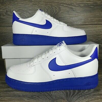NikeAir Force 1 Low 07 White Royal Midsole Sneakers CK7663-103 Mens Sizes