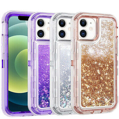 For iPhone 12 12 Pro Max 11 Pro Max Case Liquid Glitter Bling Heavy Duty Cover