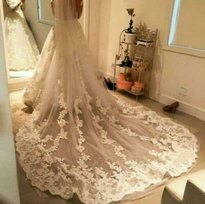 Wedding Bridal Veil With Comb Cathedral Length Appliques Lace Bridal Accessories