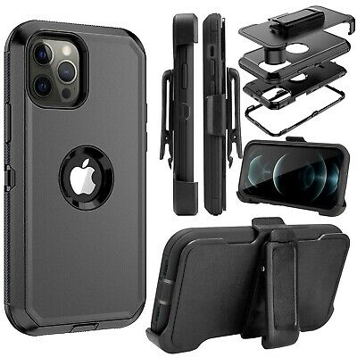 For iPhone 12 Mini 12 Pro Max Defender Case With Stand Holster Belt Clip Cover