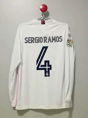 Real Madrid Long Sleeves Home Vintage Soccer Jersey 4 Sergio Ramos Size XL
