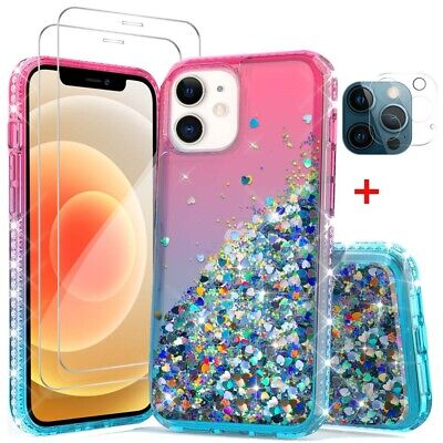 For iPhone 12 Pro Max 12 Max Bling TPU Hybrid Case-Tempered Glass-Lens Protector