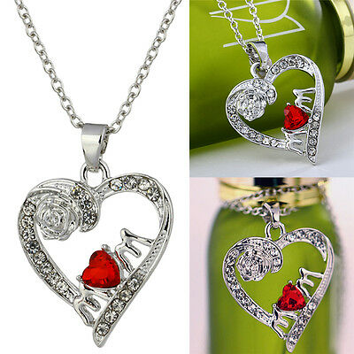 Charm Mothers Day Gift for Mom Friend Red Crystal Heart Necklace Pendant N QW
