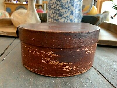 RARE EARLY PRIMITIVE ROUND WOODEN PANTRY BOX ORIGINAL BLOOD RED PAINT STORAGE