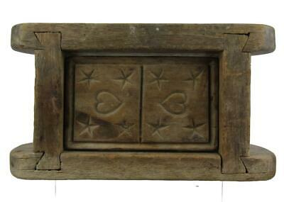 Antique 19thC BUTTER MOLD STAR HEARTS AAFA 2 of 2 Treen Stamp Print Primitive