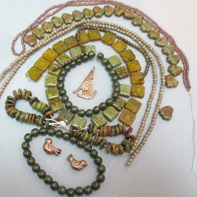 HUGE Olive Picasso Squares - Leaf -Safari beads wCoyote and Birds