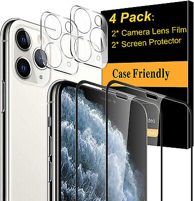 For iPhone 11 12 Pro Max FULL COVER Tempered Glass Screen Protector-Camera Lens