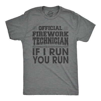 Mens Official Firework Technician Tshirt Funny Fourth Of July Tee For Guys Dark