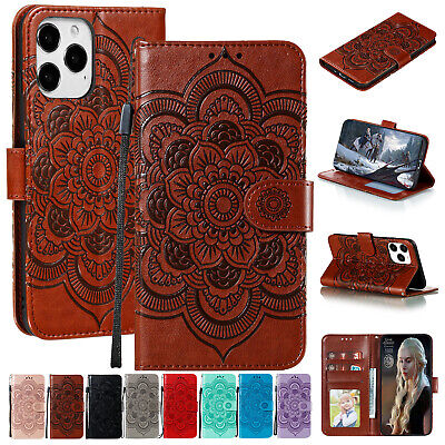 For iPhone 11 12 Pro Max 8 7 Plus XS XR Case Embossed Leather Wallet Flip Cover