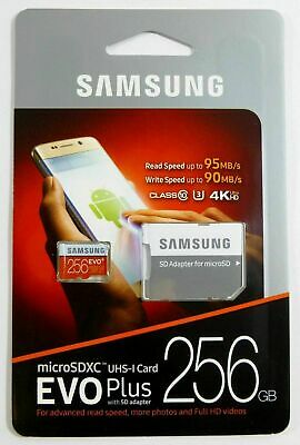 SAMSUNG EVO Plus 256GB MicroSD Micro SDXC Class10 Flash Memory Card wSD Adapter