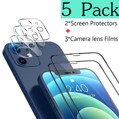 5 Pack For iPhone 12 Pro Max 12 Pro 11 Tempered Glass Camera Screen Protector