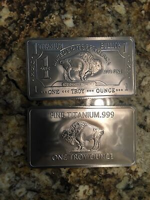 1 TROY OUNCEOZ -999 Pure TITANIUM Metal Buffalo BarsINGOTSBullion