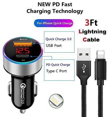 Fast Car Charger iPhone Charger iPhone Cable For iPhone 7 8 XS XR 12 11 Pro Max