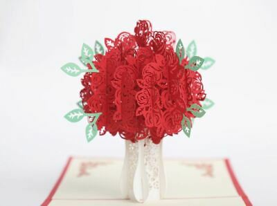 3D Red Rose Pop Up Card for Valentine Mothers Day Love Anniversary Greeting