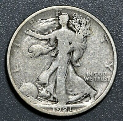 1921-D 50c WALKING LIBERTY SILVER HALF DOLLAR, GRADE G+,  SKU-1138