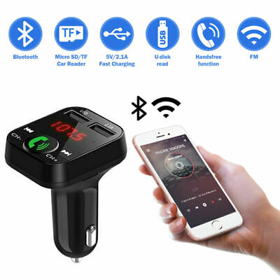 Bluetooth FM Transmitter Car Audio Receiver Hands-Free MP3 Charger 2 USB Ports