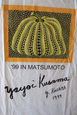 Yayoi Kusama Cotton Shirt And Pumpkin 99 In Matumoto Autograph Ink Sign