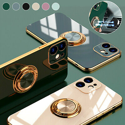 Magnetic Ring Stand Plating Case Cover For iPhone 11 12 Pro Max XS XR 7 8 Plus X