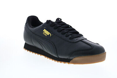 Puma Roma Classic Gum 36640802 Mens Black Leather Lifestyle Sneakers Shoes