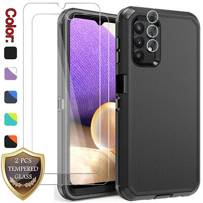 For Samsung Galaxy A32 5G Case Shockproof Cover -Tempered Glass -Lens Protector