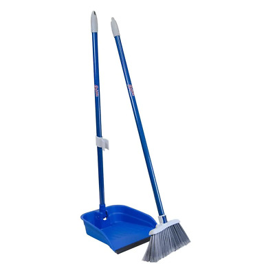 Broom and Dustpan Set Lobby Commercial Standing Angled W Long Handle And Holder