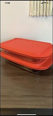 2 Pyrex Basic 3 Quart Glass with Red Plastic Lid 9 x 13 Inches