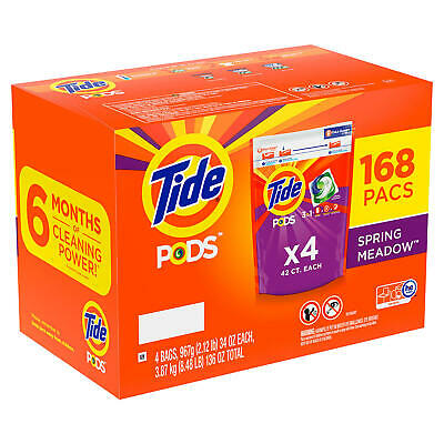 Tide PODS Liquid Laundry Detergent Pacs Spring Meadow 168 ct- FREE SHIPPING