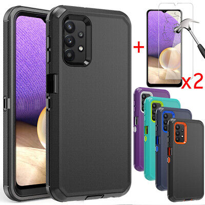 For Samsung Galaxy A32 5G Case Shockproof Defender Cover-Glass Screen Protector