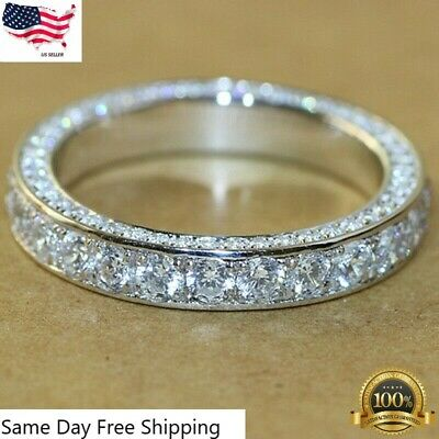 Gorgeous 925 Silver Rings for Women White Sapphire Rings Jewelry Size 6-10