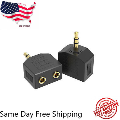 1 Male to 2 Female Gold Plated 3-5mm Y Audio Splitter Headphone Adapter Black