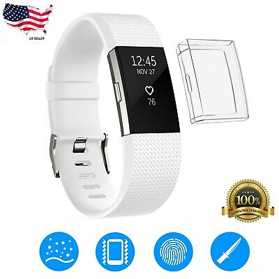 Ultrathin Soft TPU Full Screen protector Clear Case Cover For Fitbit Charge 2 US
