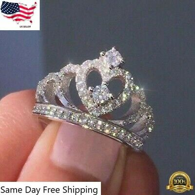 Women Crown Jewelry 925 Silver Rings White Sapphire Wedding Ring Size 6-10