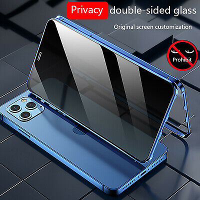 Anti Spy Privacy 360 Full Glass Magnetic Case For iPhone 11 12 Pro Max XS XR 78-