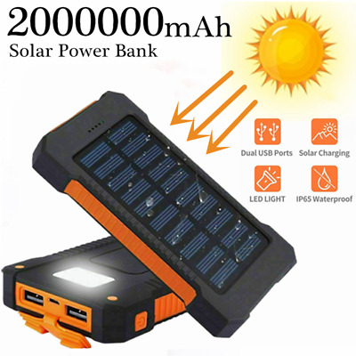 2000000mAh Power Bank 2USB Backup External Battery Pack Charger for Cell Phone