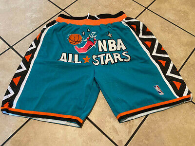 1996 All Star TEAL JUST DON Mens Stitched NBA Basketball Team Shorts