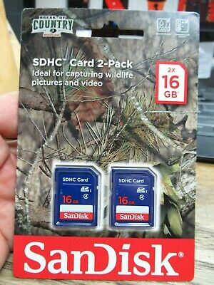NEW SANDISK SDHC CARD 2 PACK 2x 16GB BREAK UP COUNTRY SD CARD WILDLIFE CAMERA
