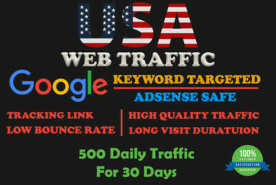 USA Web Traffic - Google Keyword Targeted Lowest Bounce Rate